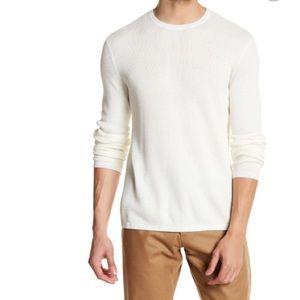 Theory Men's Off White Cotton Waffle Knit Savaro Pullover
